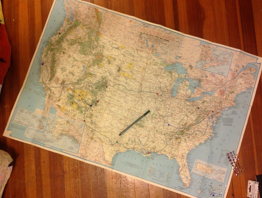 A map of my travels through the United States.