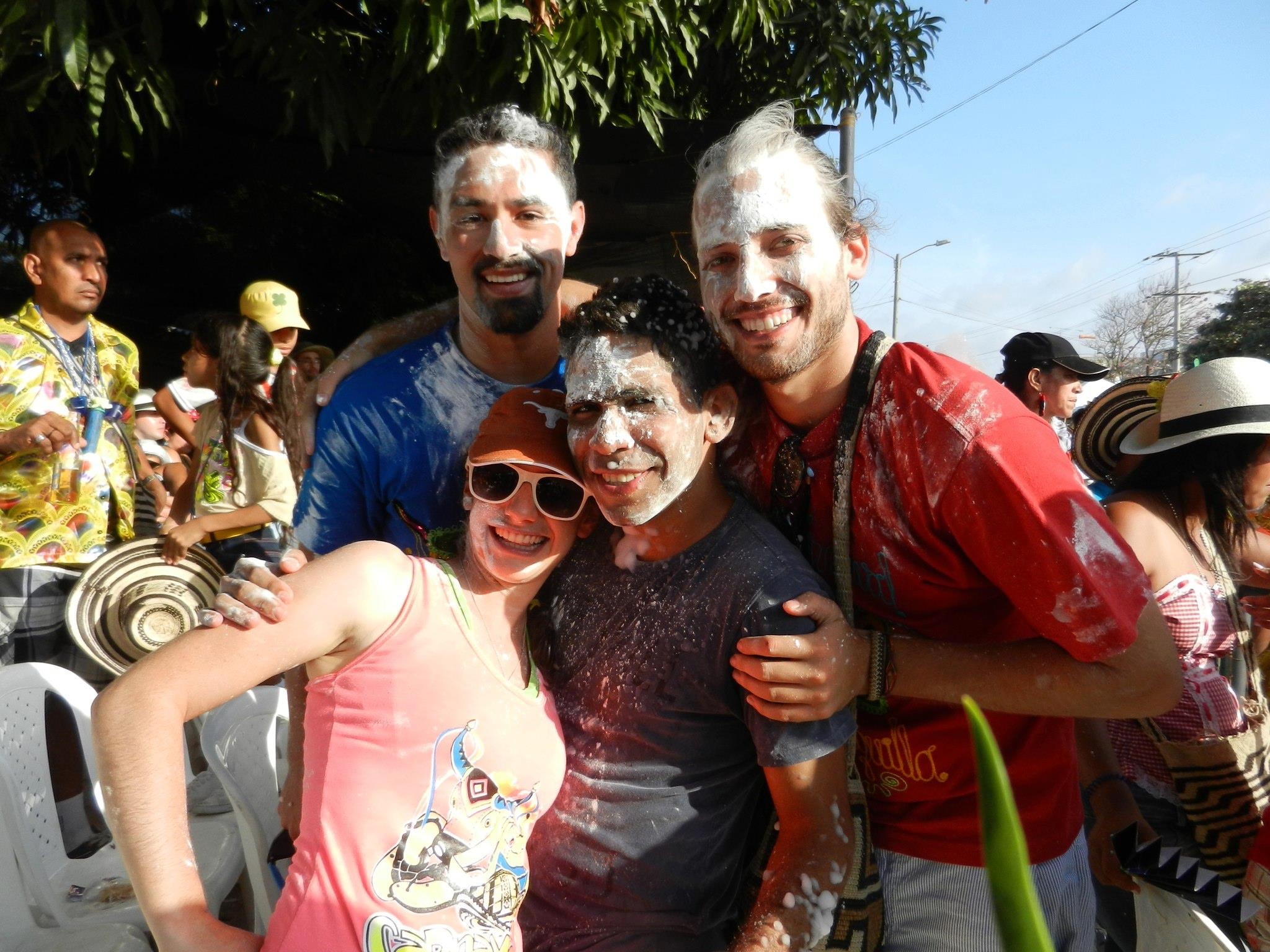 Covered in cornstarch, which is thrown and/or smeared on friends and strangers alike at all Carnaval events
