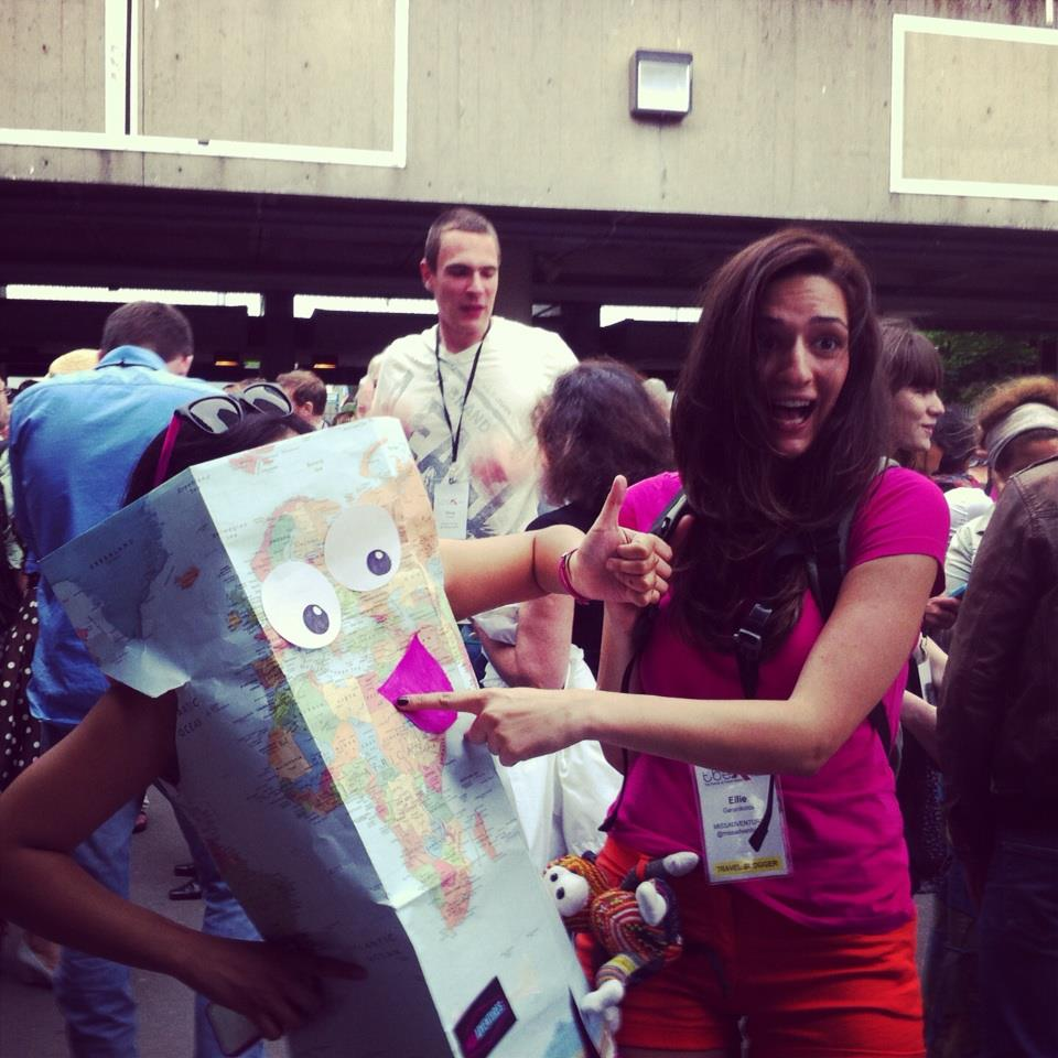 "The MISSADVENTURES crew dresses as a map and Dora the Explorer for Expedia's ""night with the stars"" on Centre Island."