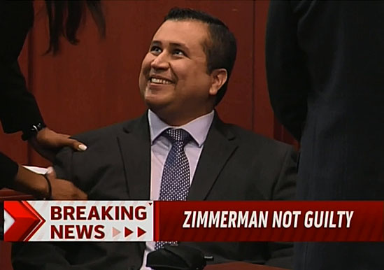 The moment when George Zimmerman was acquitted. Image from zerohedge.com