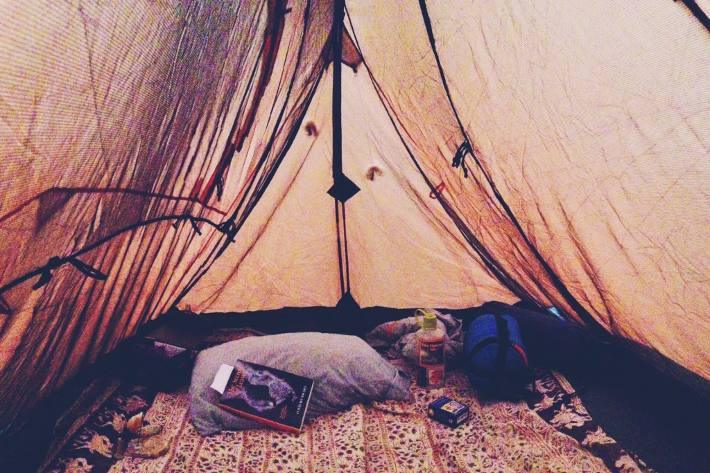 The inside of my hippie tent den where I spent 4 hours reading a book.