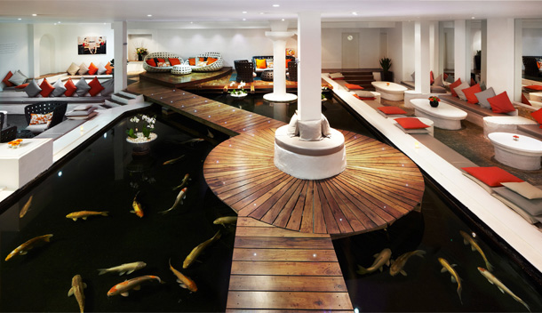 The incredible koi carp lounge at The Sanctuary Spa, Covent Garden, London. Image courtesy of www.hellomagazine.com