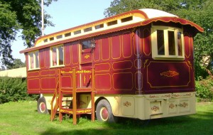 This is what we call a wagon. The one I'm living in has three partitioning walls inside to make three seperate bunks. Picture from www.walcothall.com