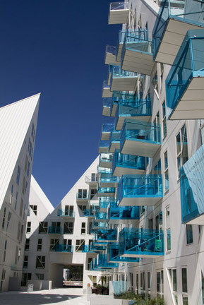 The Iceberg--a new housing development on Aarhus Harbor--makes for a great place to watch the fishermen come in from the Baltic.  Photo by Erin Brown