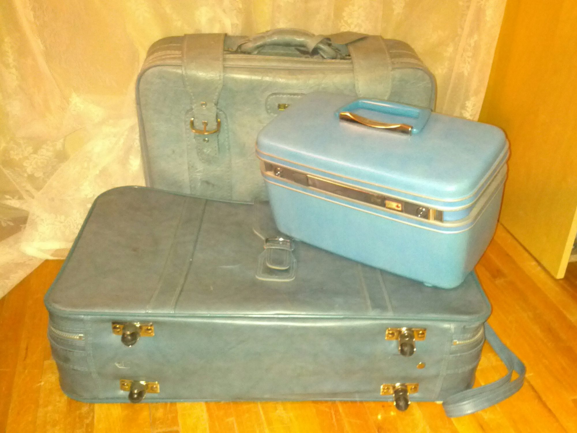 1960s and 1970s 'soft side'  suitcases and airplane carry-on case. Photo credit: Joanna Farley.