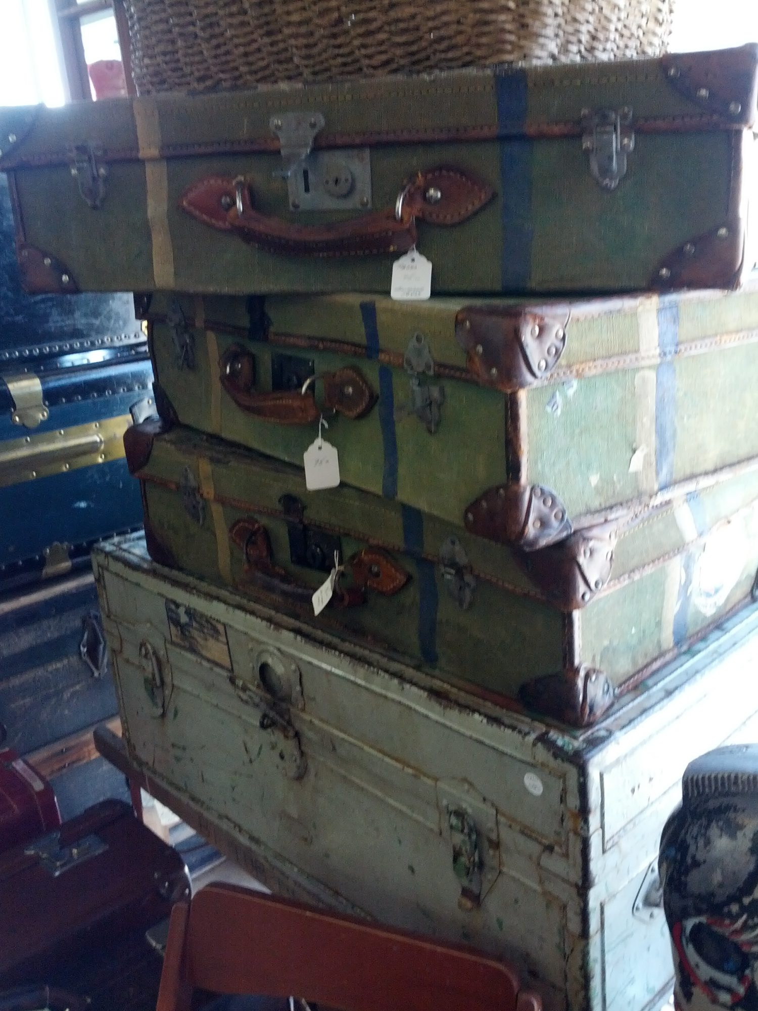 1940s suitcases at an antique store. Photo credit: Joanna Farley.