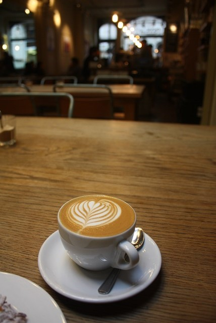A delicious flat white at the  London coffee shop, Notes