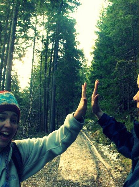 Sheila and I make a good team hiking Sněžka, a mountain in the Czech countryside