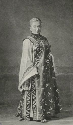 Isabella Bird in Manchurian dress, late 1870s. Image from WikiCommons.