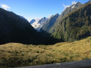The view from the MacKinnon Pass emergency shelter.