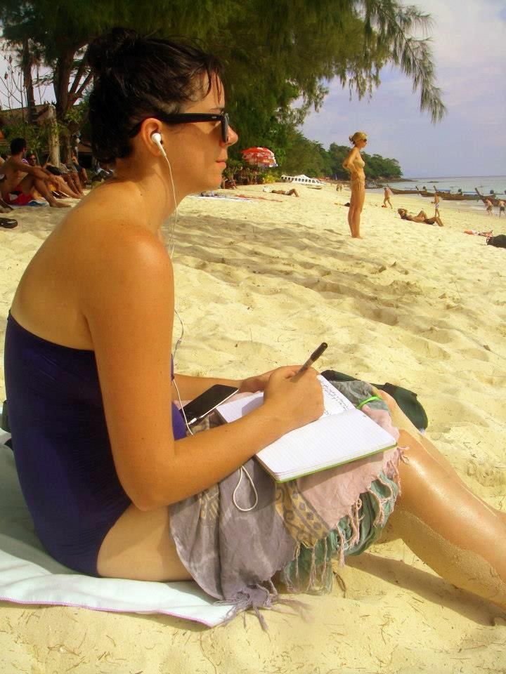 "Me ""processing"" on a beach on Ko Phi Phi."