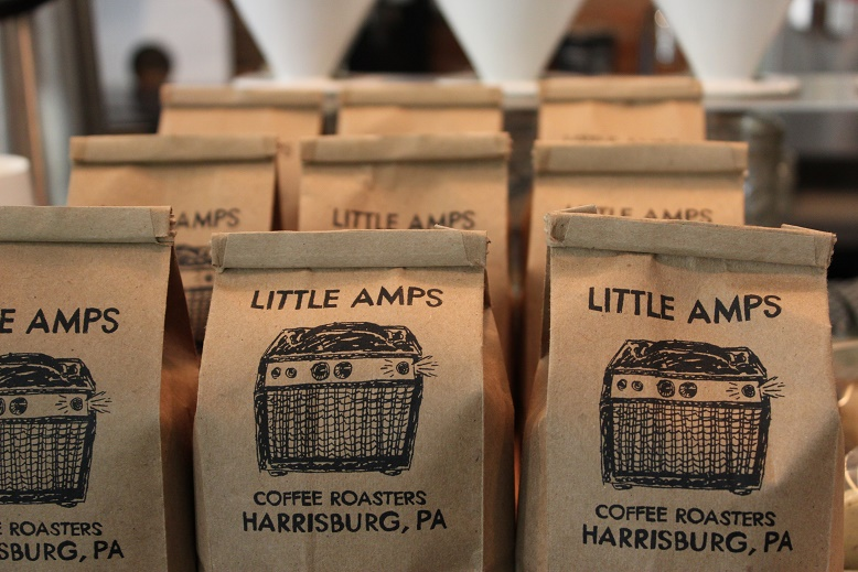 Coffee beans at Little Amps in Harrisburg, Pennsylvania. Photo by Beth Santos of Go Girl Travel Network.