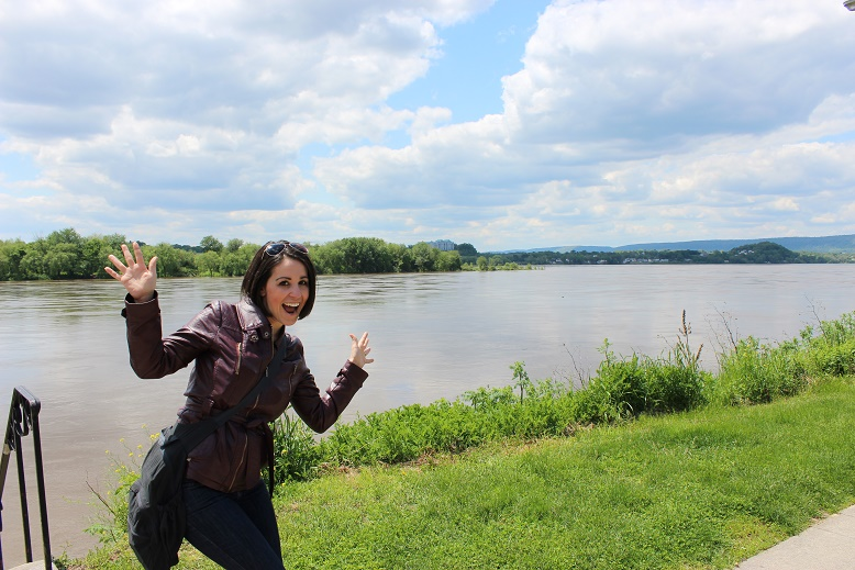 Jazz hands, courtesy of Beth Santos of Go Girl Travel Network at the Susquehanna River in Harrisburg, Pennsylvania.