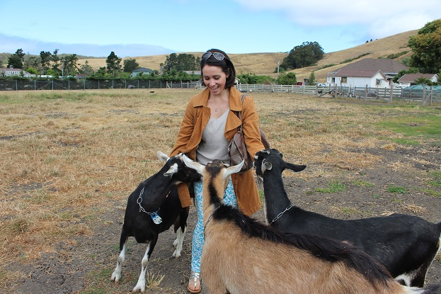 Beth of Go Girl Travel Network at Harley Farms Goat Dairy