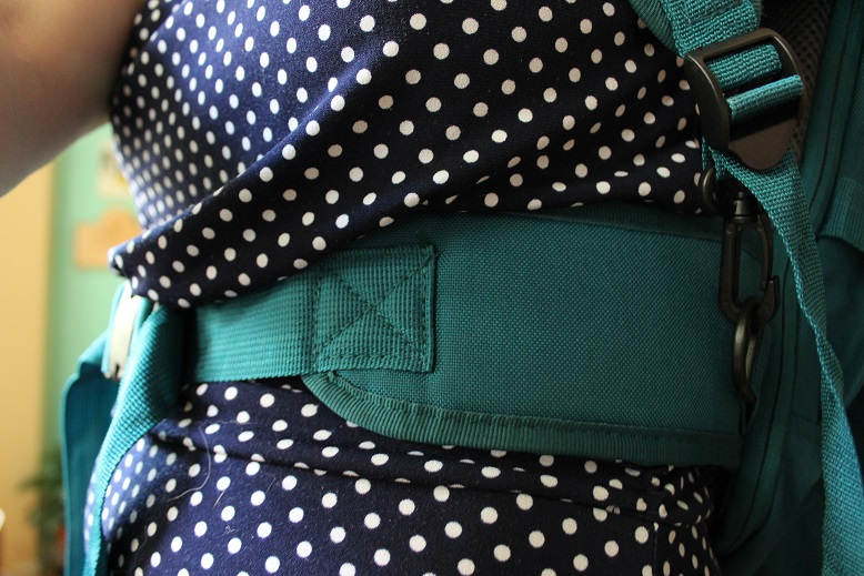 Close-up on hip straps in Lite Gear travel bag