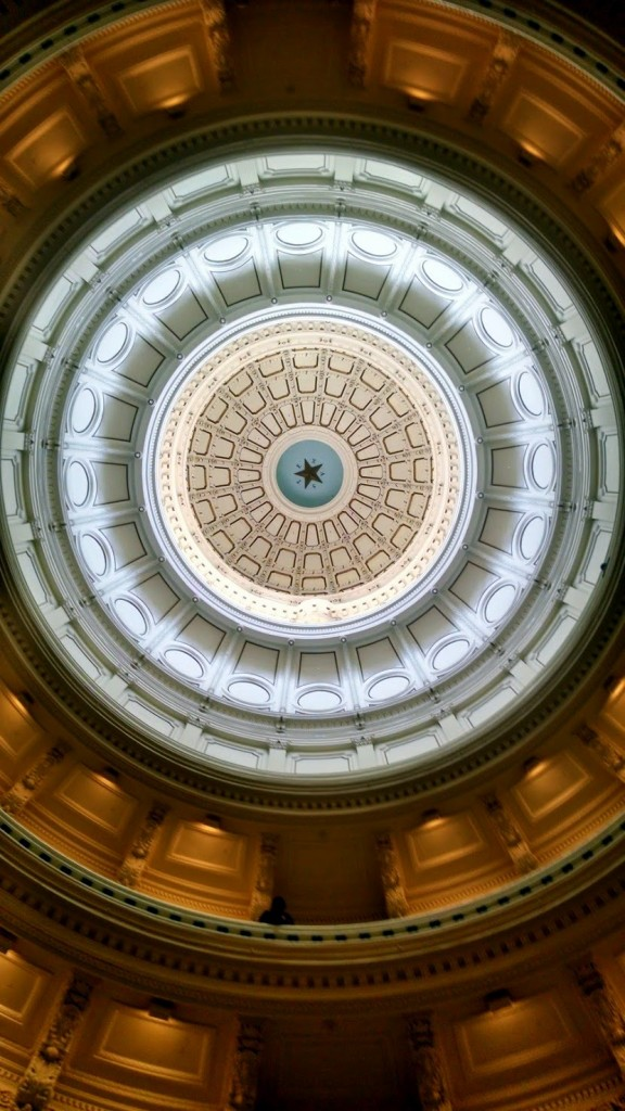 Peering up into the beautiful Texas Capitol Rotunda.
