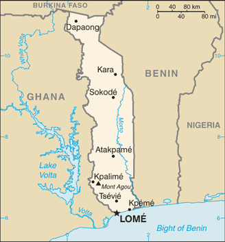 A map of Togo. Image courtesy of Wikipedia.