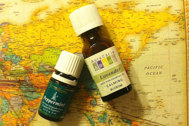 Essential oils: lavender and peppermint.