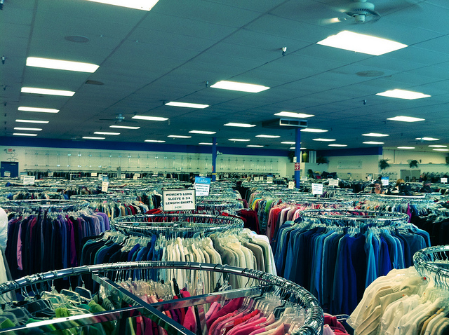 Shop at thrift stores for up-cycled clothing.