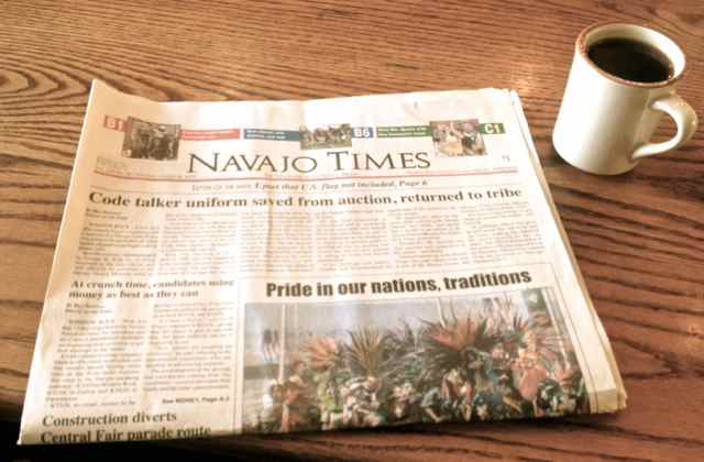 Navajo Times and black coffee