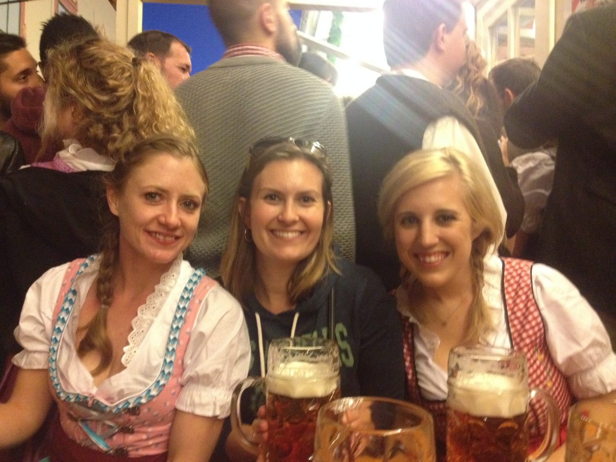 Samantha and her flat mates, who donned dirndls for Oktoberfest.