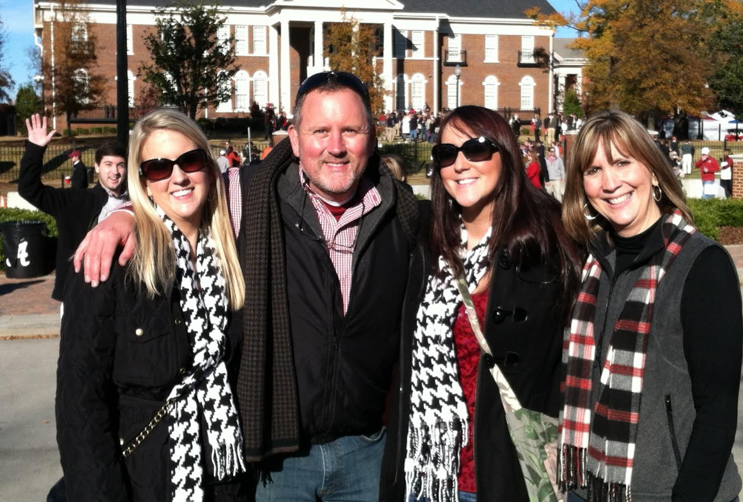 Rick Griffin of Midlife Road Trip with his wife and daughters in Tuscaloosa, Alabama