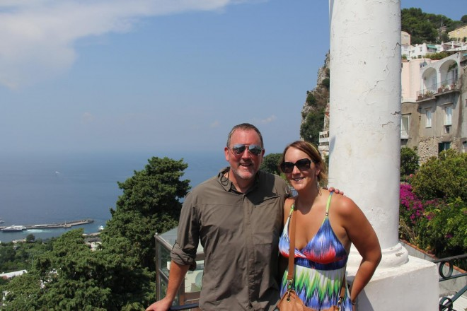 Rick Griffin of Midlife Road Trip with his daughter, Kacie, in Capri, Italy