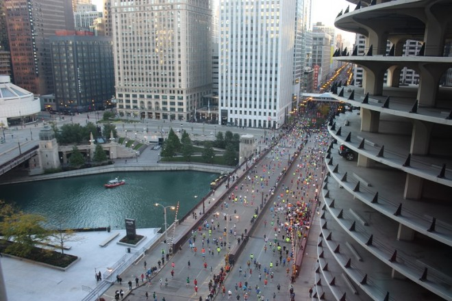 The Chicago Marathon, viewed from the Hotel Chicago
