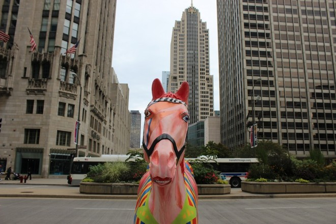 Horse art dedicated to the Chicago Police Force