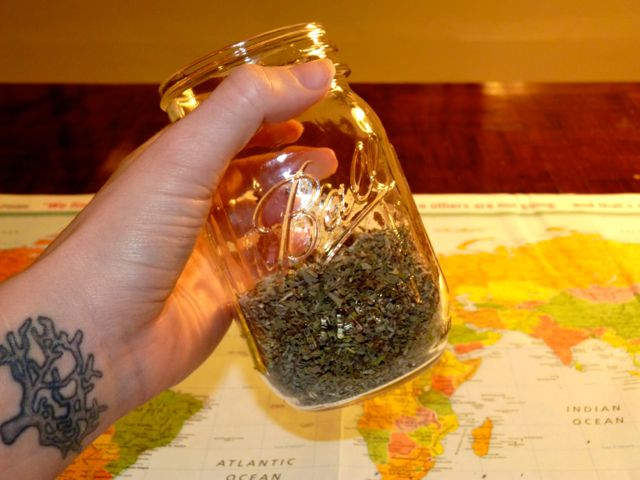 add your herbs to the jar