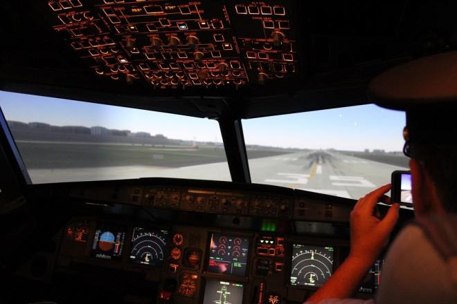 Inside Turkish Airlines flight simulator