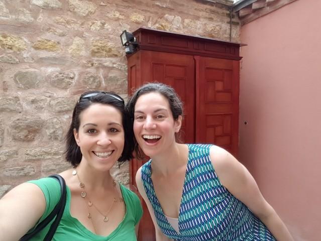 Lillie of AroundtheWorldL.com and TeachingTraveling.com and I prepare for our Turkish bath