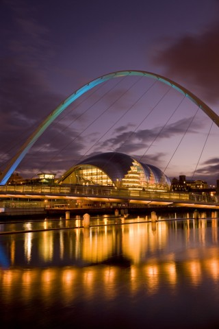 View from Newcastle quayside at dusk. Photo credit: ©VisitBritain / Rod Edwards