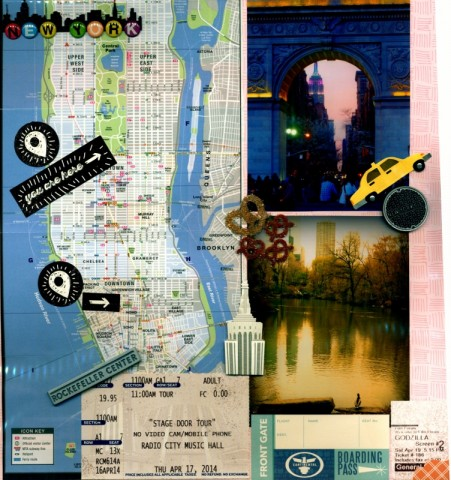 This layout, from a trip to NYC, uses a city map and ticket stubs as some of its embellishments.