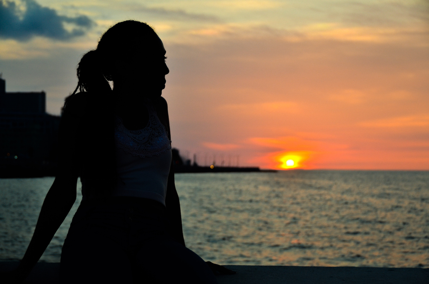 Silhouette of a woman facing the sunset over water
