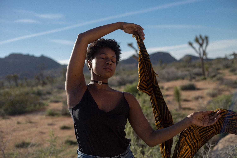 Black woman in the desert