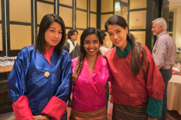 Partying with princesses in traditional wear. From left to right: Her Majesty Ashi Namzay Kumutha, your humble author, Her Majesty Ashi Yiwang Pindarica. Photo by Alex Reynolds of Lost with Purpose.