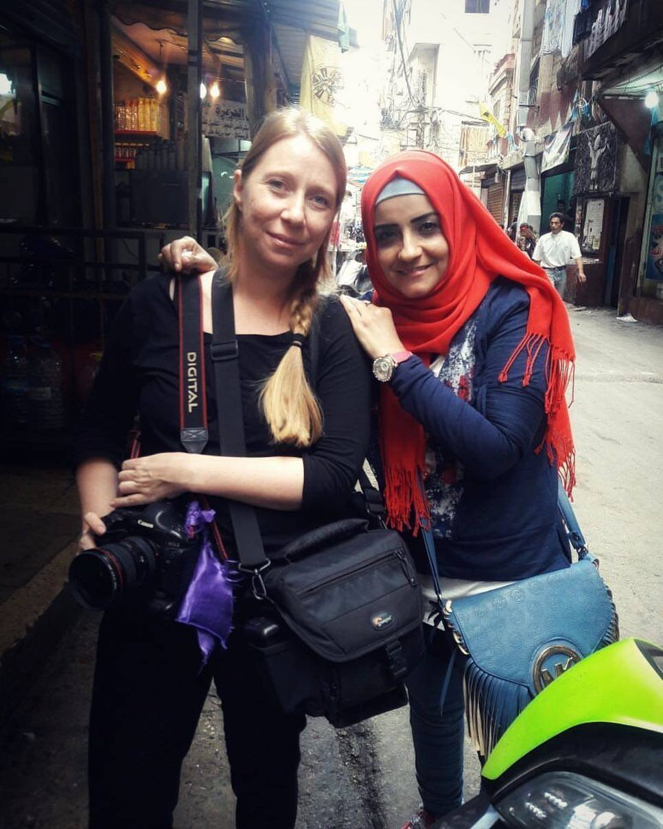 Jekaterina in Shatila Refugee Camp with Faten Anbar; photo by Halima Al Haj Ali