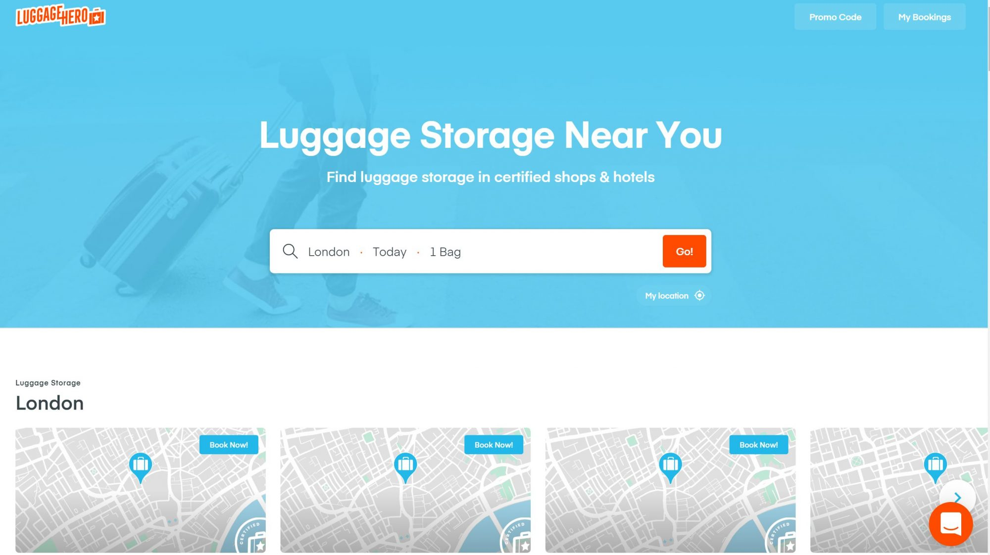 LuggageHero website screenshot for luggage storage assistance