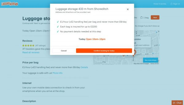 LuggageHero reservation page for storing bags in London