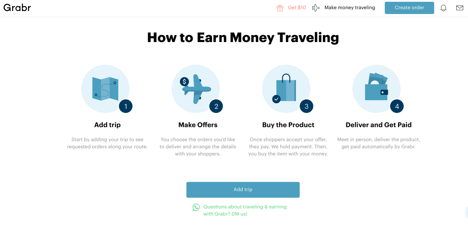 make money when you travel with Grabr - screenshot for travelers