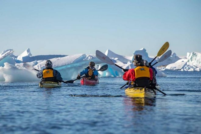 kayakers admiring glaciers during an Antarctica trip with Intrepid Travel and Wanderful