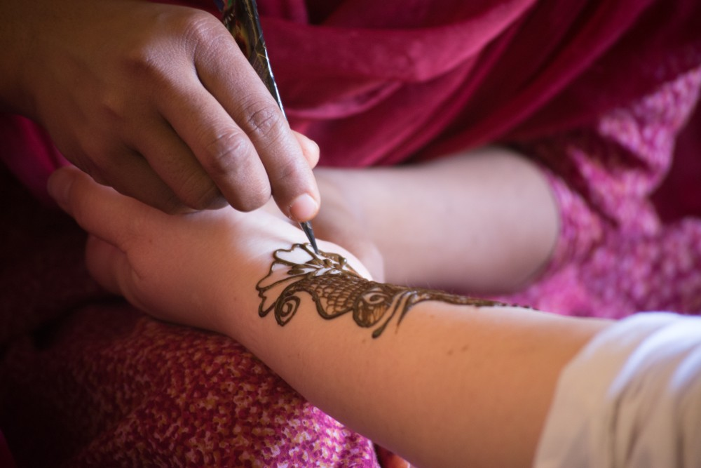 close-up of henna being done on an arm - Sambhali Trust, Rajasthan