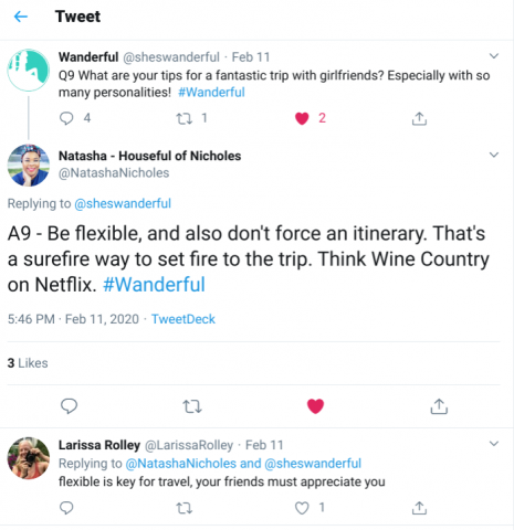 Twitter screenshot Wanderful and NatashaNicholes talking about traveling with gal pals