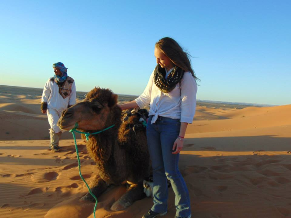 Samantha Weiss with a camel in Morocco