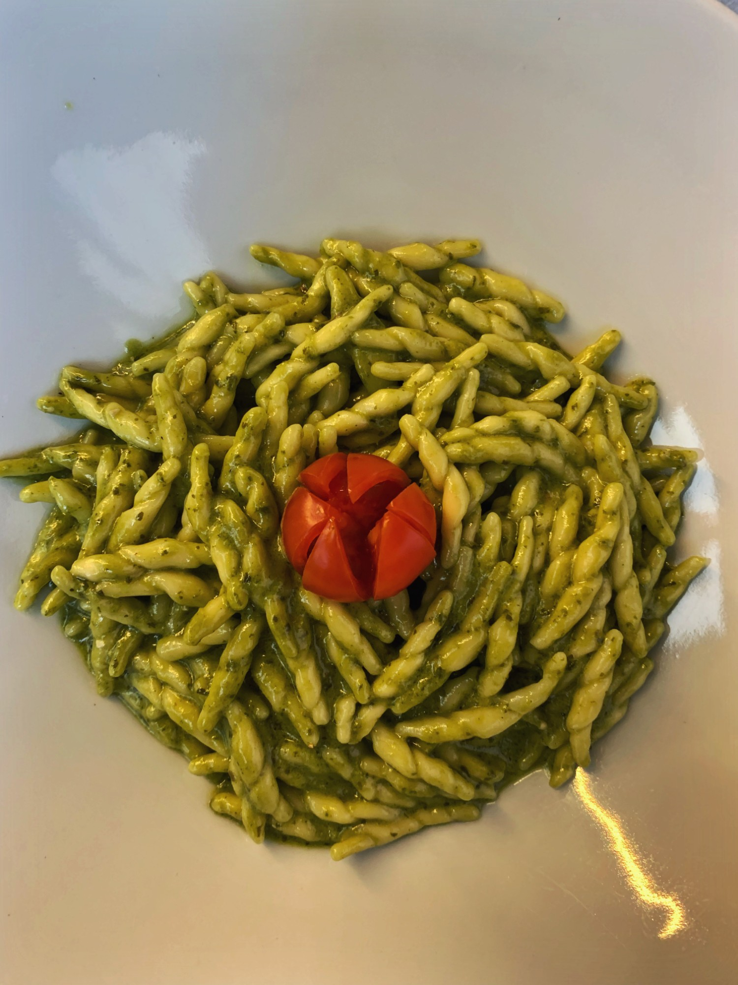 Plate of pesto pasta in Florence