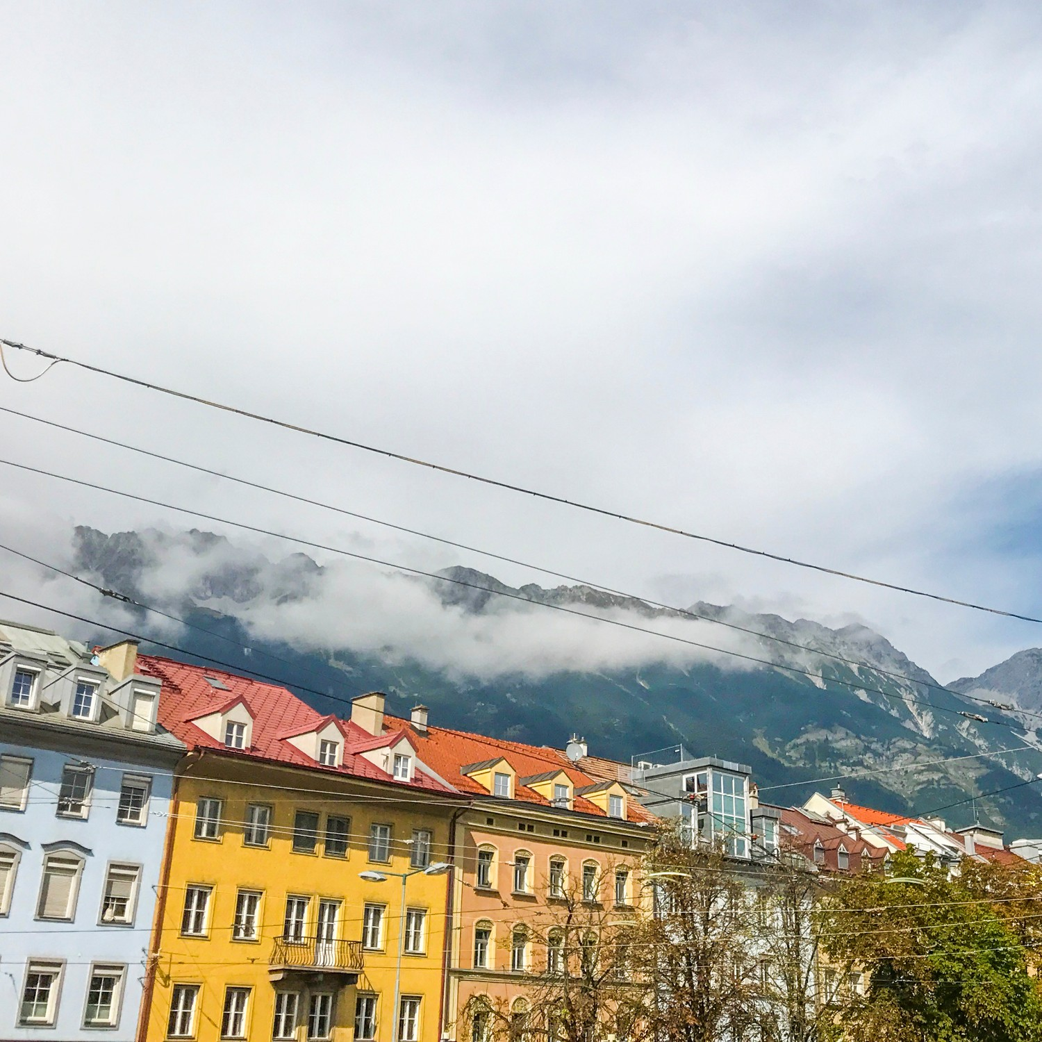 cloudy skies over the mountains of Innsbruck