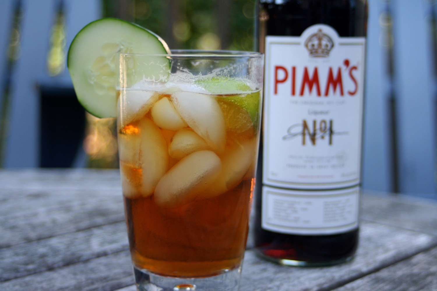 Pimms bottle and full glass - Credit to Whitney