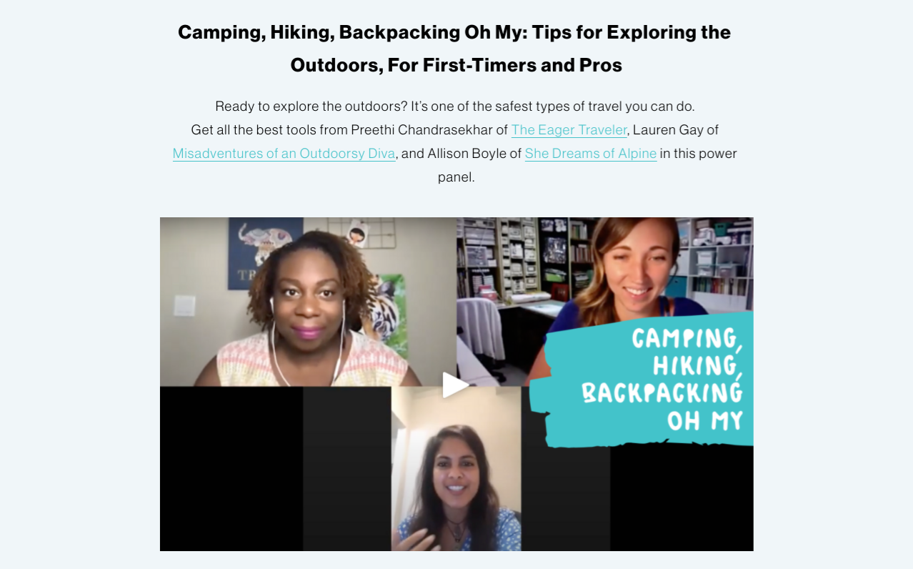 outdoor adventure travel tips from travel influencers: image of a video screenshot from the Wanderful Woman Summit with speakers