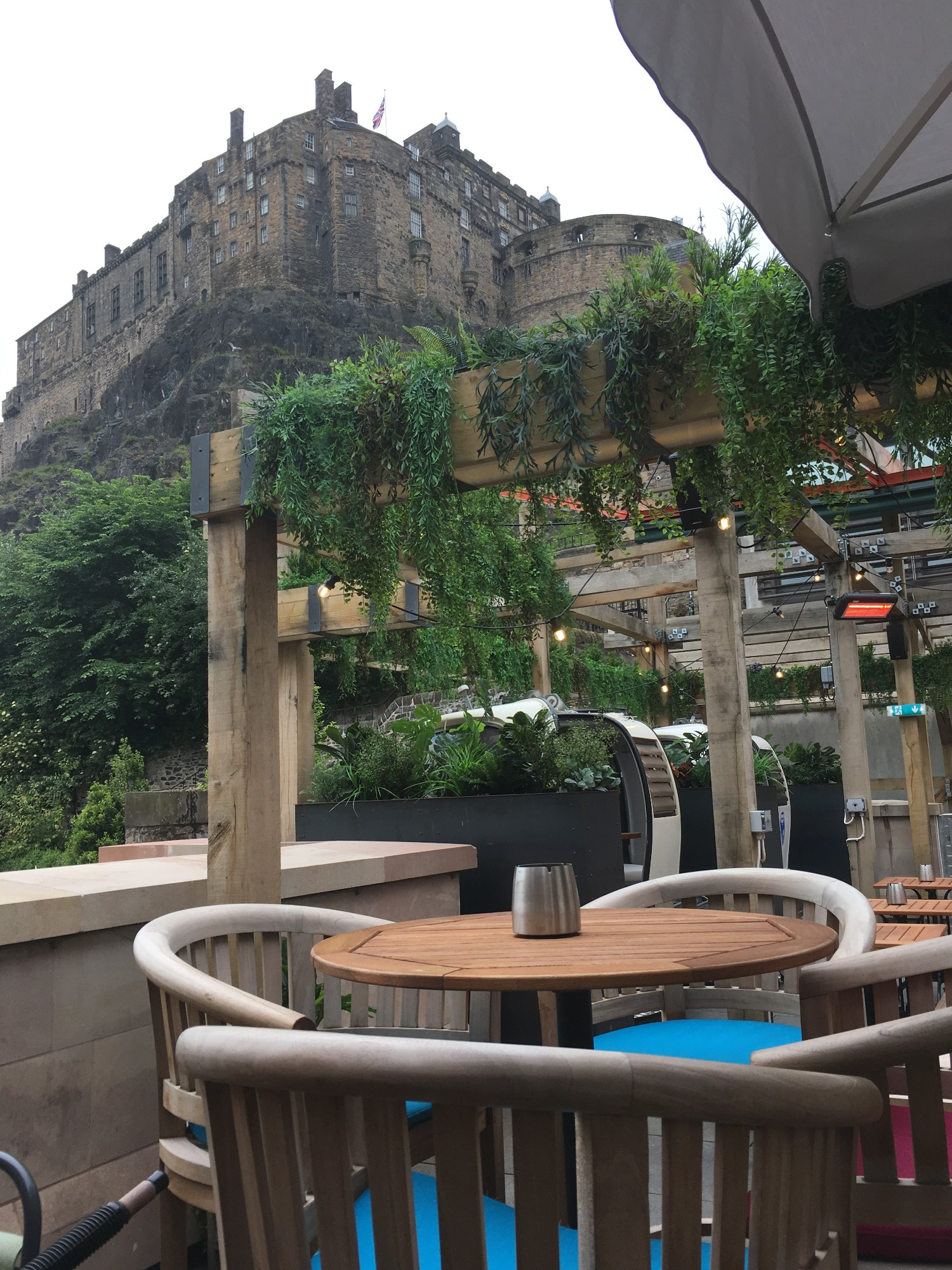 Beer garden at Cold Town House in Edinburgh, Scotland, with a view of Edinburgh Castle above